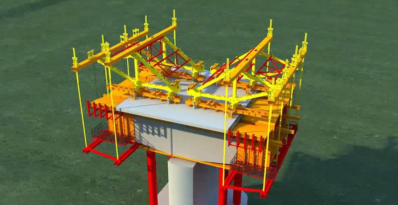 黄水河大桥挂篮法悬臂浇筑施工工艺三维动画