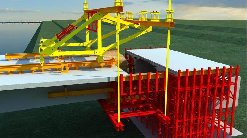 黃水河大橋掛籃法懸臂澆筑施工工藝三維動畫圖片